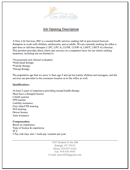 Available Positions – Mental Health Counselor Job Description