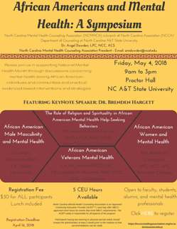 African Americans And Mental Health A Symposium North Carolina